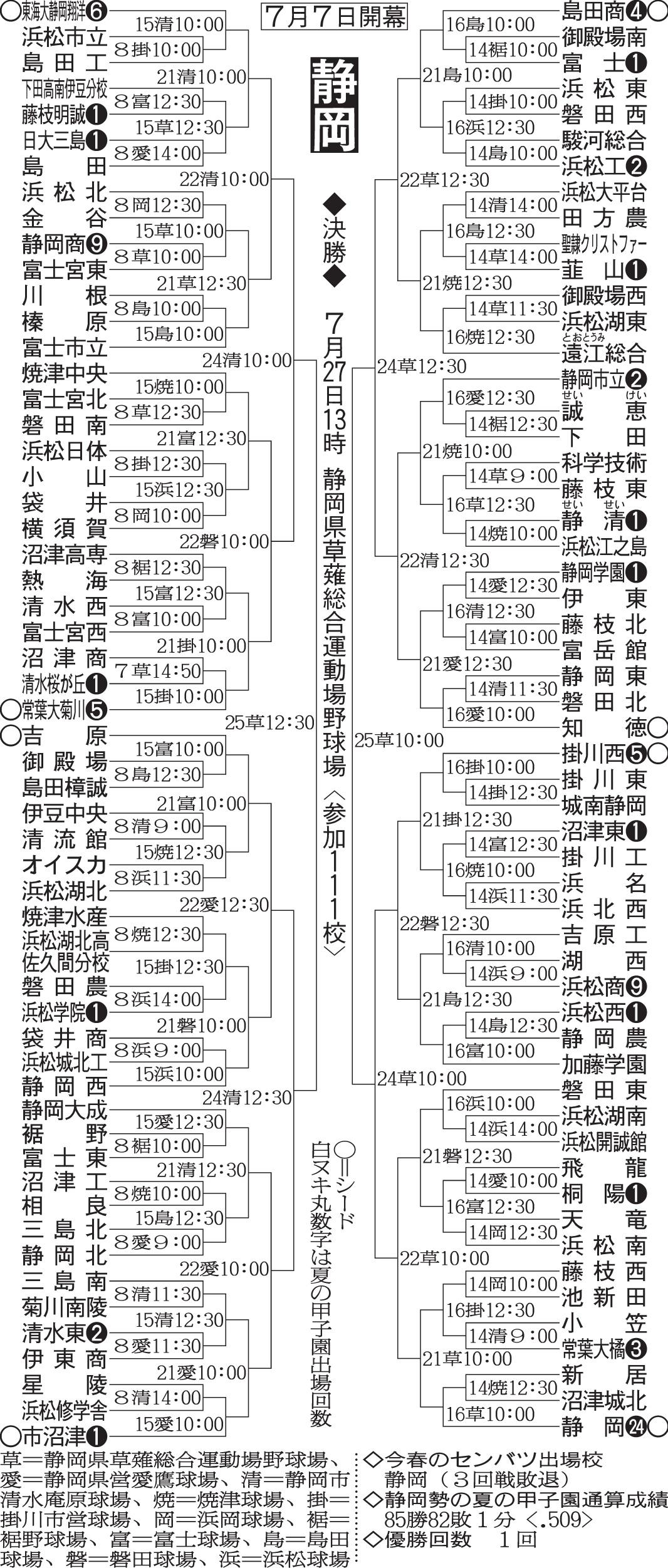 第100回全国高等学校野球選手権記念大会:静岡県
