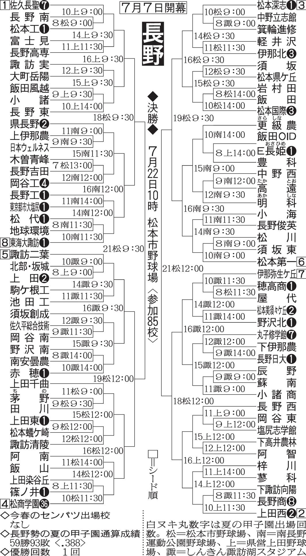 第100回全国高等学校野球選手権記念大会:長野県