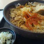 ゆで太郎にて肉舞茸蕎麦(温)の大盛